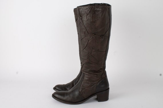 US9.5 Italian Leather Womens Boots / Chunky Heeled