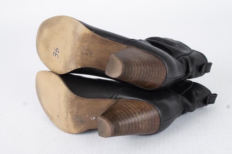 US5-5.5 Vintage Black Leather Ankle Boots  Boho Leather Booties  Wooden Heel  Size EU36 UK3.5-4 US5-5.5