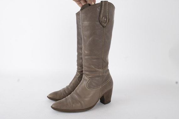 US8  Vintage Grey Leather Boots / 70s Womens Boots