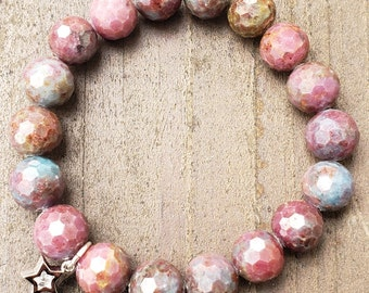 Rare Ruby Apatite 10mm Micro Faceted Bead Bracelet