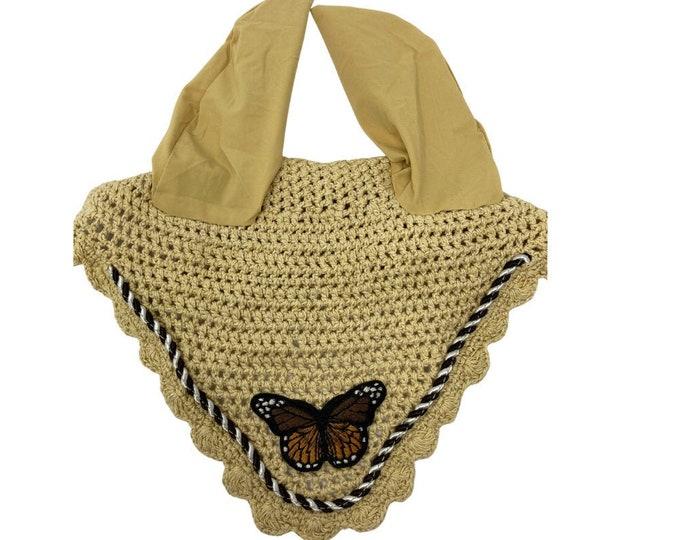 NEW Tan Butterfly Bonnet! Horse-Sized