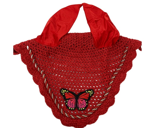 NEW Red Butterfly Bonnet! Horse-Sized