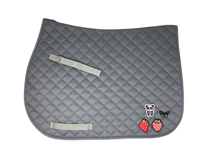 Choose Any of These Patches on the  Gray All-Purpose Saddle Pad!