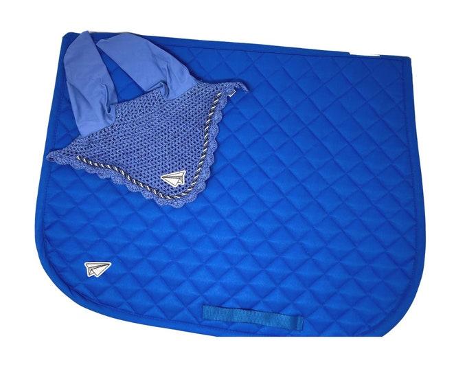 Royal Blue Paper Airplane Bonnet & Saddle Pad!