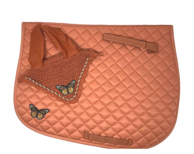 Burnt Orange Butterfly Bonnet & Saddle Pad!