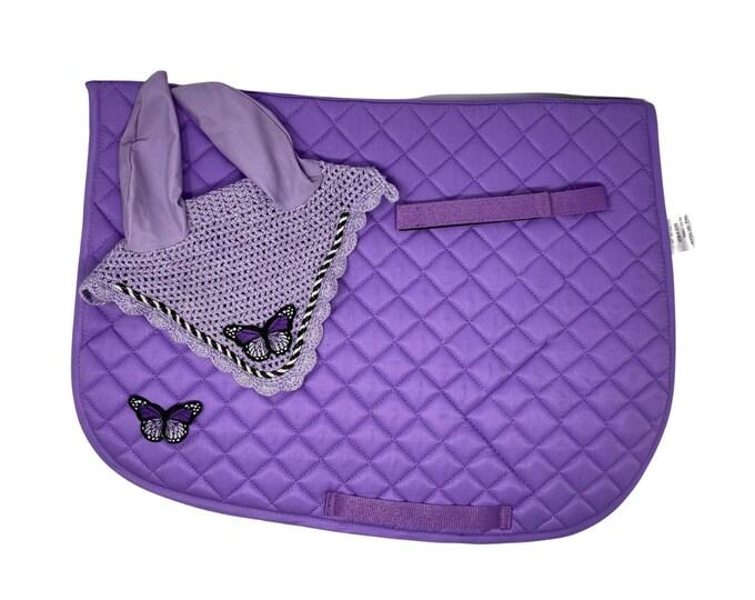 Purple Butterfly Bonnet & Saddle Pad!