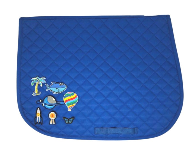 Choose Any of These Patches on the Royal Blue All-Purpose Saddle Pad!