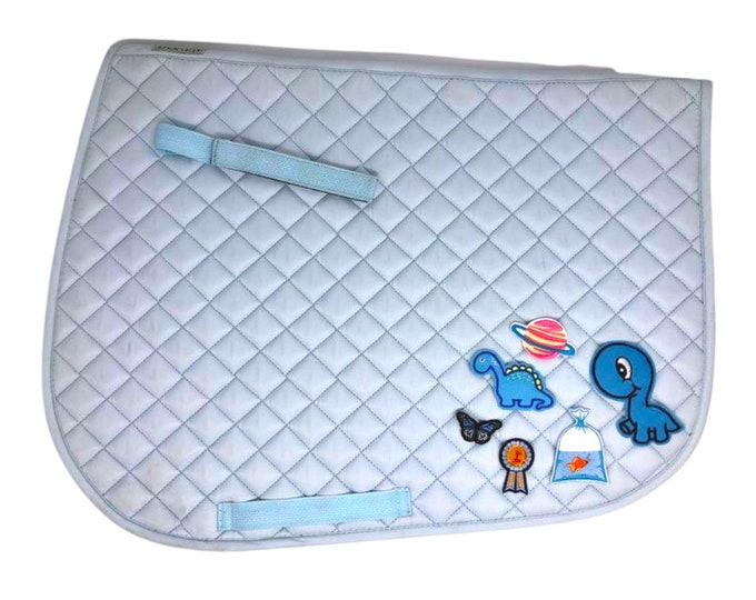 Choose Any of These Patches on the Ice Blue All-Purpose Saddle Pad!