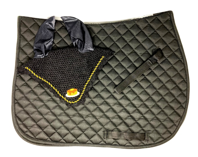 Stack of Pancakes Bonnet and Saddle Pad in Black!