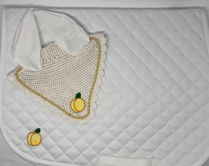 White Peach Bonnet & Saddle Pad!
