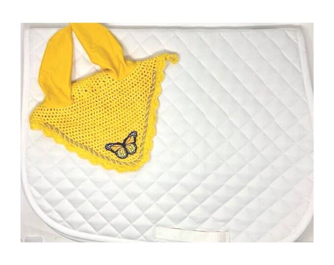 Yellow Butterfly Bonnet & Saddle Pad!