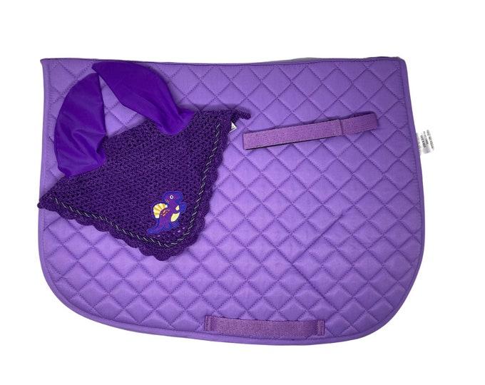 Purple Dino Bonnet & Saddle Pad!
