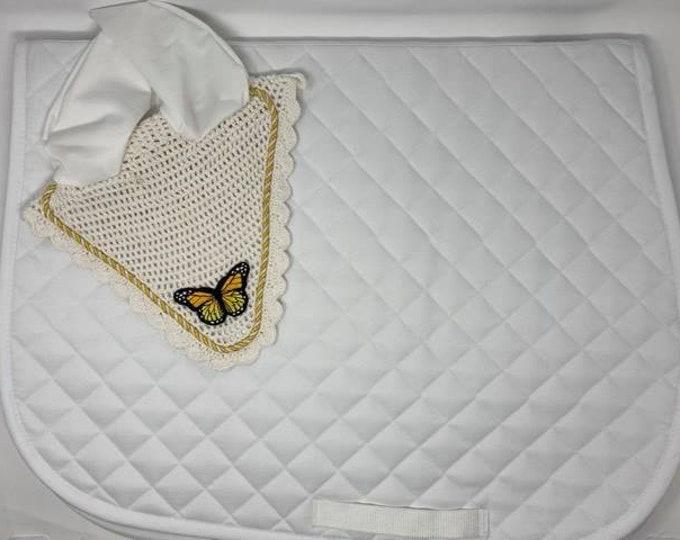 White Butterfly Bonnet & Saddle Pad!