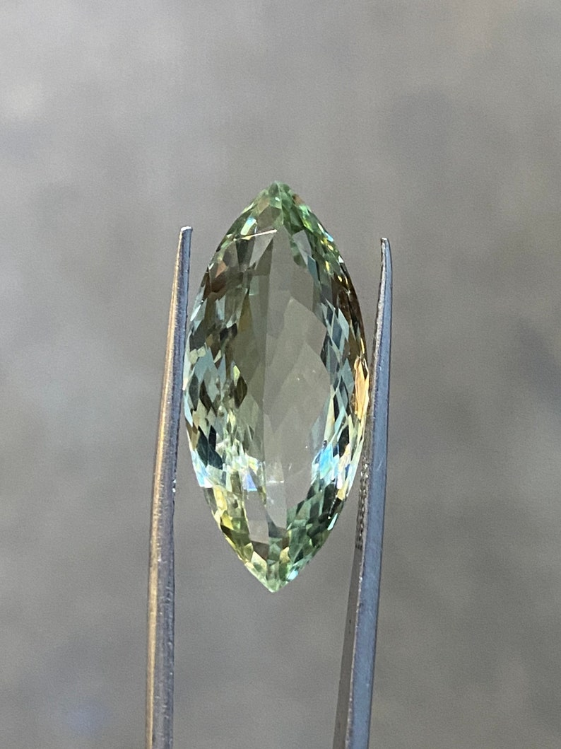 17.58cts marquise shape 12.3x27mm big size single piece prasiolite Natural Green Amethyst
