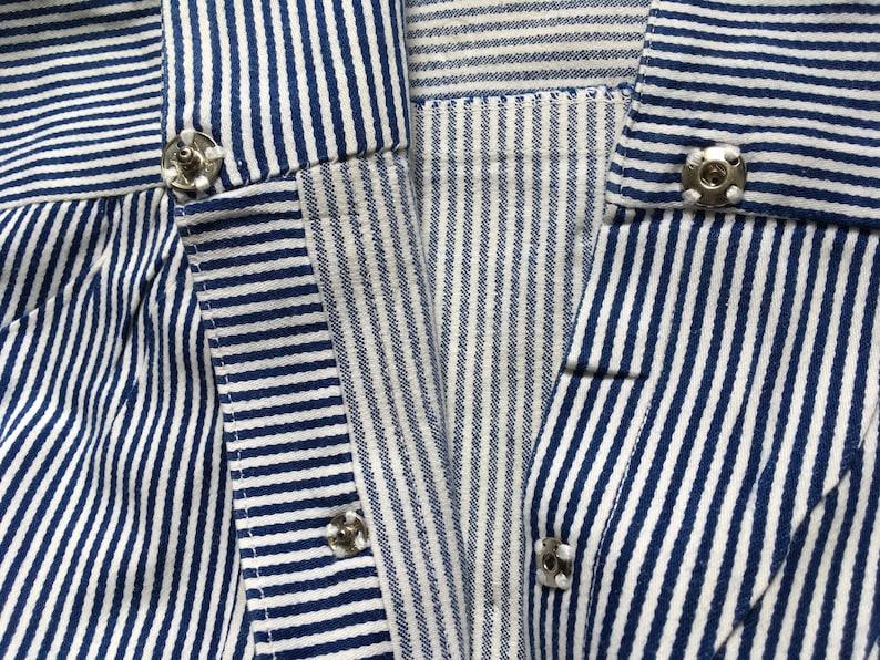 Vintage Nurse Dress   Medical Uniform   Blue and white stripes