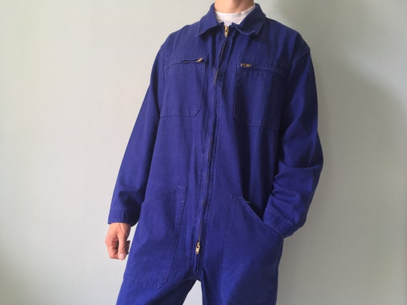 French Coveralls / Moleskin / Size M-L / Vintage … - image 1