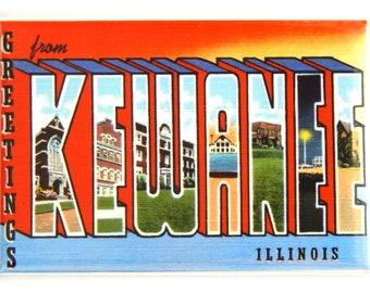 Greetings from Kewanee Illinois FRIDGE MAGNET travel souvenir