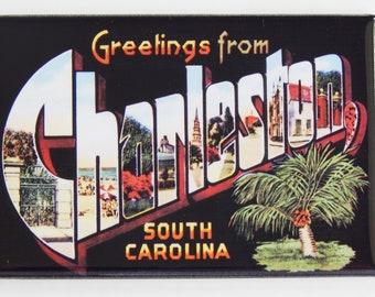 "Greetings from Charleston South Carolina FRIDGE MAGNET travel souvenir /""style B/"""
