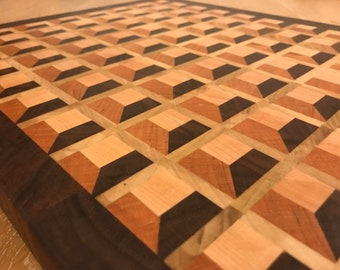 3D waffle cutting board - end  grain local New England hardwoods only!!