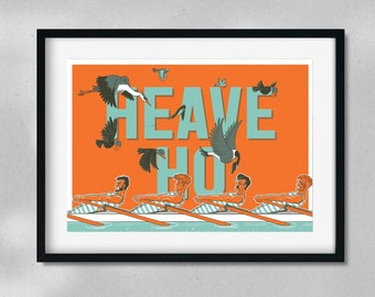 Heave Ho - Rowing - Bird and Boat - A4 Digital Art Print