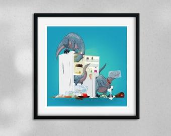 Fridge Raiders - Velociraptor Dinosaur - 8x8in Digital Art Print
