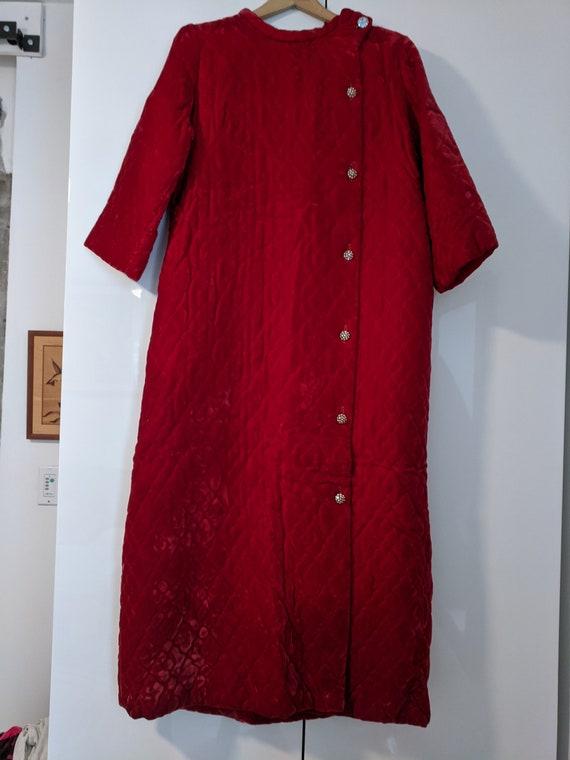 Bonwit Teller Vintage Red Quilted Velvet Housecoat