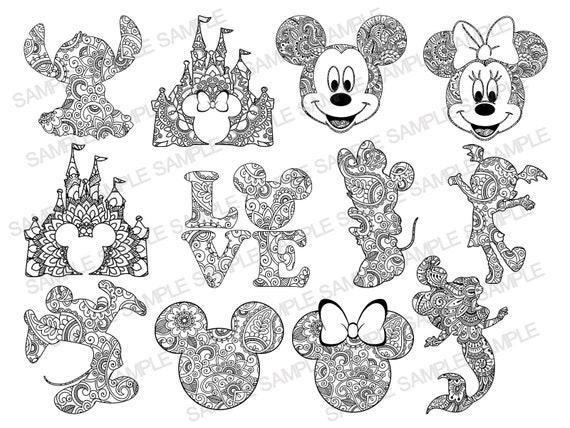 Disney Bundle Svg Disney Mandala Svg Mickey Mouse Svg Etsy