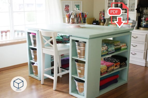 Diy Plans Sewing Craft Table With Storage Etsy