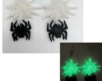Spider Web Earrings, Halloween Earrings, Glow in the Dark, Spooky Cute Halloween Earrings, Halloween Jewelry for Women, Clip On Earrings