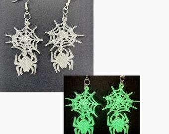 Spider Web Earrings, Halloween Earrings, Glow in the Dark, 3D Printed, Spooky Earrings, Halloween Jewelry for Women, Clip On Earrings