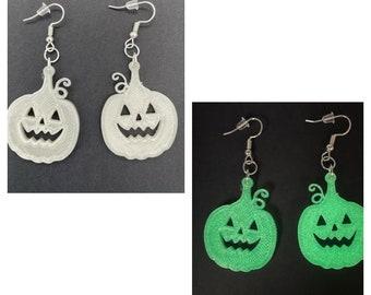 Pumpkin Earrings, Halloween Earrings, Glow in the Dark, Spooky Cute Halloween Earrings, Halloween Jewelry for Women, Clip On Earrings