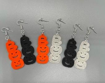 Mismatched Halloween Earrings, Boo Earrings, Pumpkin Earrings, Glow in the Dark, Spooky Cute Halloween, Halloween Jewelry for Women, Clip On