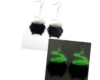 Witch Cauldron Earrings, Halloween Earrings, Glow in the Dark, 3D Printed, Spooky Earrings, Halloween Jewelry for Women, Clip On Earrings
