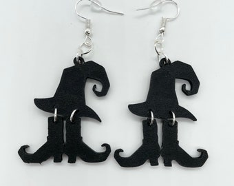 Witch Hat and Shoe Earrings, Halloween Earrings, Spooky Witch Earrings, Halloween Jewelry for Women, Accessory, Novelty, Clip On Earrings