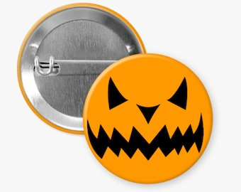 Spooky Halloween Pin, Pumpkin Pin, Pinback Button, Flair Button, Buttons for Bag, Coworker Gift, Trick or Treat, Halloween Pin for Backpack