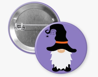 Cute Halloween Pin, Halloween Gnome, Pinback Button, Flair Button, Buttons for Bag, Coworker Gift, Gnome Lover, Halloween Pin for Backpack