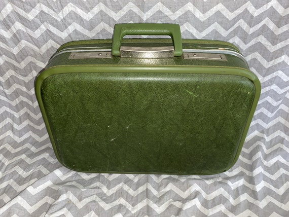 Olive green vintage mini suitcase