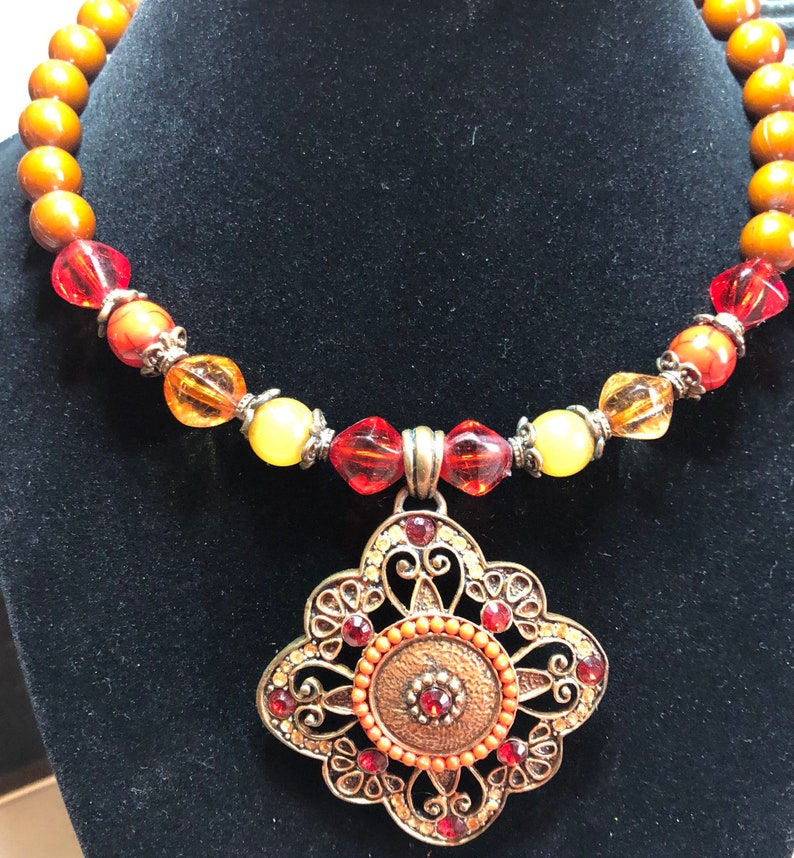 Vintage Stretch Fit Beaded Pendant Choker Necklace with image 0