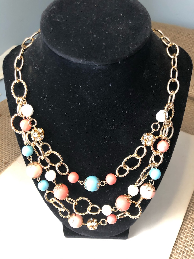 Vintage multi-strand rope necklace with multi colored beads image 0