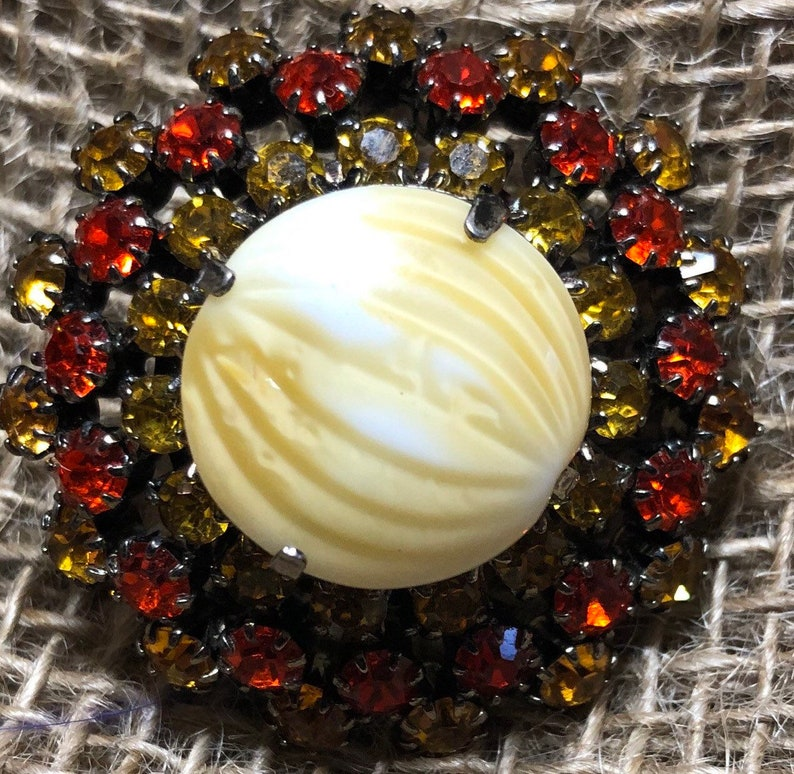 Vintage Amber Rhinestone Flower Brooch image 0