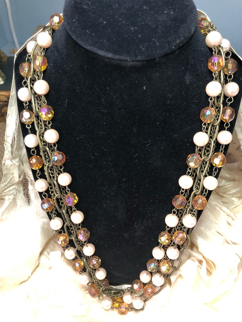 Vintage Ribbon Amber Beaded Multi Chain Necklace image 0