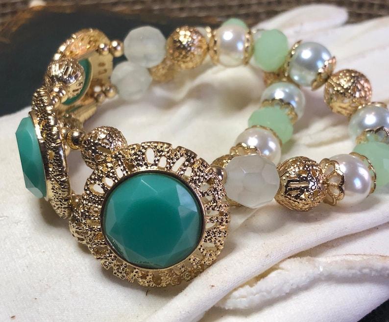 Vintage Stretch Two Strand Gold-Tone Green Beaded Bracelet image 0
