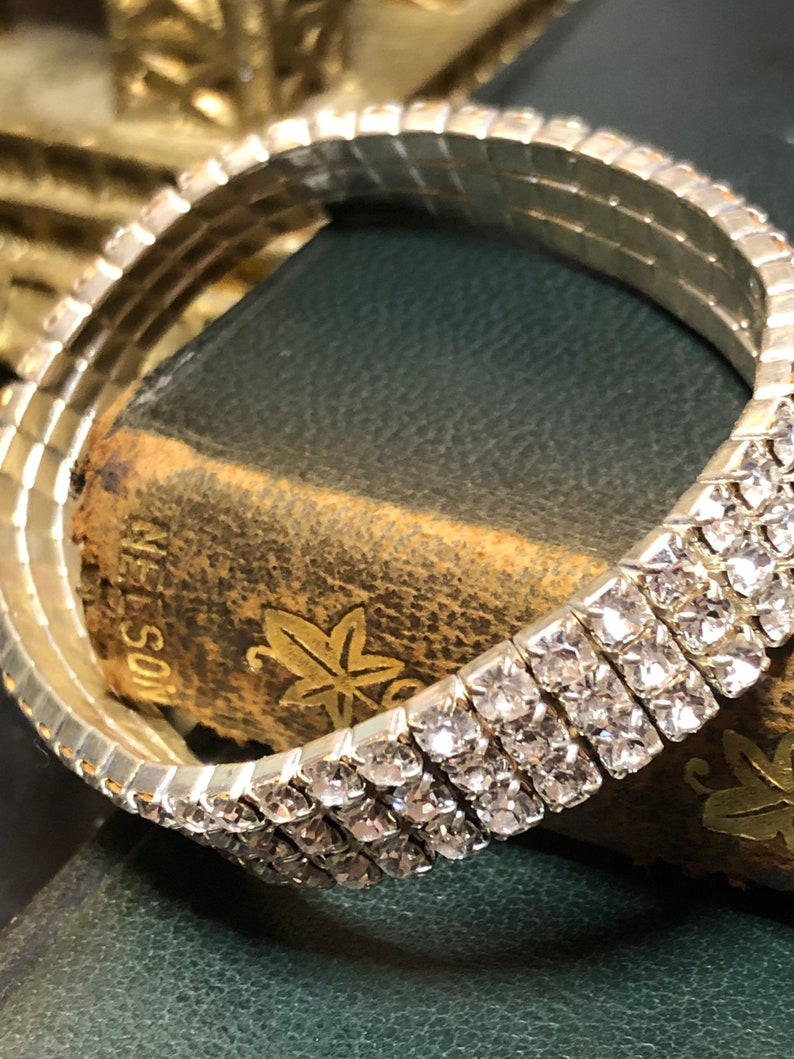 Vintage Crystal Stretch Clear Rhinestone Evening Bracelet image 0