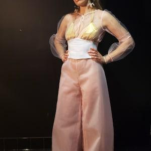 Cotton Pants and tulle topLoose SETAsymmetric loose Pants with pocketsElegant tunic dotsMaxi top and pantsLoose pants Drop crotchS1857