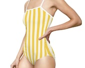 Yellow Striped Retro Summer One-piece Swimsuit
