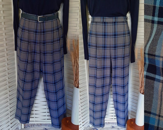 Vintage 80s pants, plaid, size AU16 - image 1