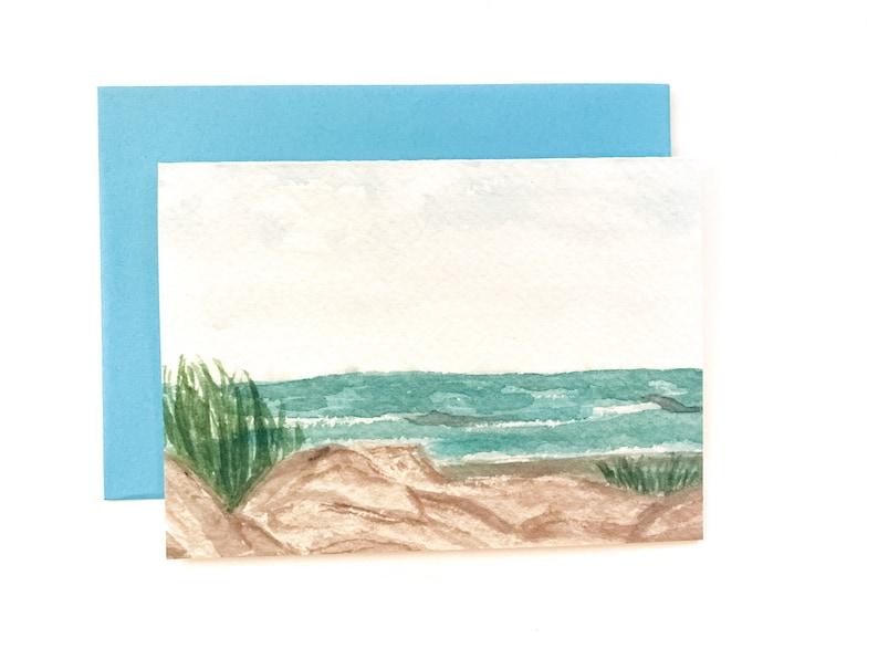 Ocean Folly Beach South Carolina Beach Scene Tiny Card Serene Blank Stationery Just Because A1