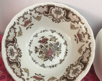 Shabby Chic Dinnerware Mid Century Knowles Harmony Pink Floral Dining Plates with Gold Trim Cottage Chic Dinner Plates