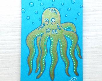 "Shiny Underwater Octopus Gel Pen Illustration - 5"" x 3.5"" drawing on Blue Cardstock Paper"