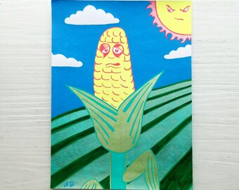 "Original Gel Pen Drawing of a Sad Cartoon Ear of Corn Languishing Under a Punishing Sun - Hand Drawn on Acid Free Paper 8"" x 5.5"""